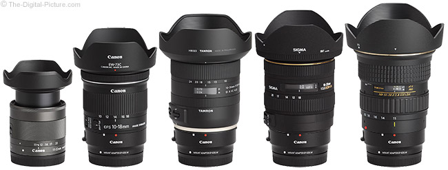 Canon EF-M 11-22mm f/4-5.6 IS STM Lens Comparison with Adapters and Hoods