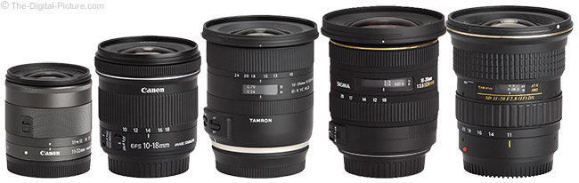 Canon EF-M 11-22mm f/4-5.6 IS STM Lens Comparison