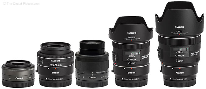 Canon EF-M 28mm f/3.5 Macro IS STM Lens Comparison to Non Macro Lenses with Hoods
