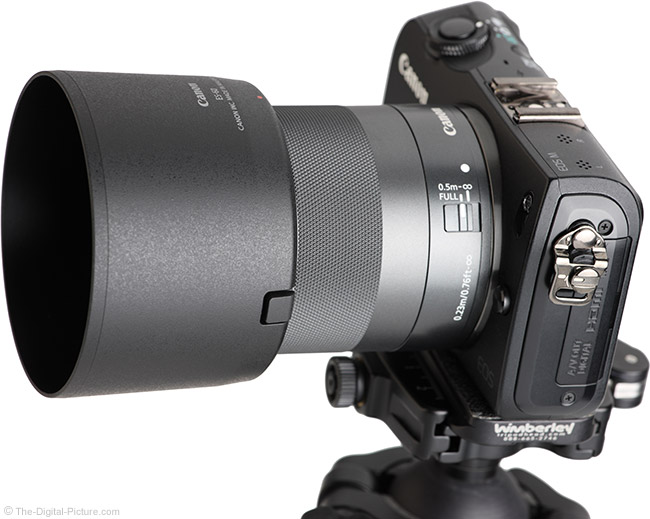 Canon EF-M 32mm f/1.4 STM Lens Angle View with Hood