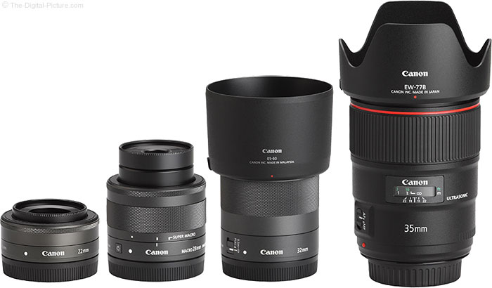 Canon EF-M 32mm f/1.4 STM Lens Compared to Similar Lenses with Hoods