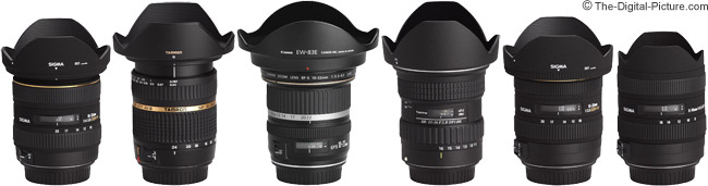 Sigma 8-16mm f/4.5-5.6 DC HSM Lens Compared to Other Ultra-Wide Angle Zoom Lenses - Extended with Hoods