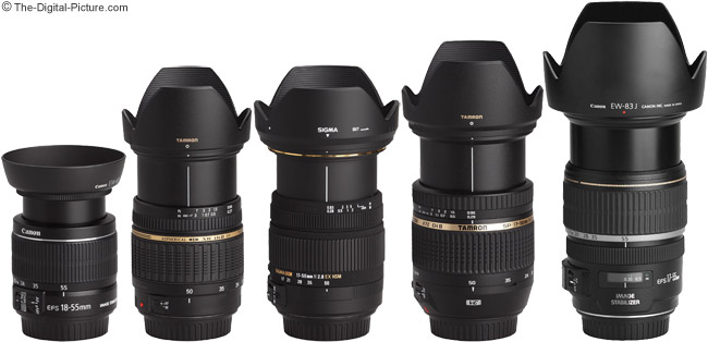 Sigma 17-50mm f/2.8 EX DC OS HSM Lens Compared to Similar 17-50mm Lenses with Hoods