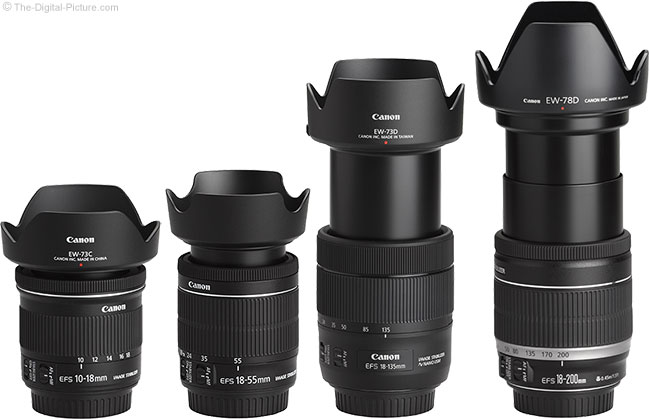 Canon EF-S 18-135mm IS USM Lens Compared to Similar Lenses with Hoods
