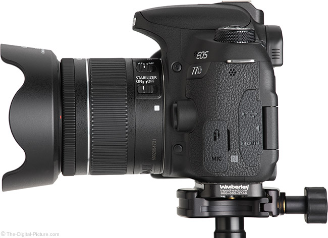 Canon EF-S 18-55mm f/4-5.6 IS STM Lens Side View with Hood