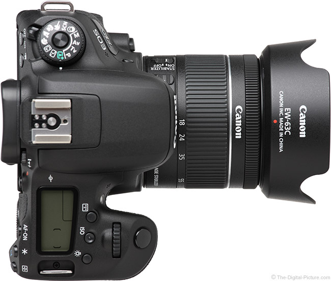 Canon EF-S 18-55mm f/4-5.6 IS STM Lens Top View with Hood