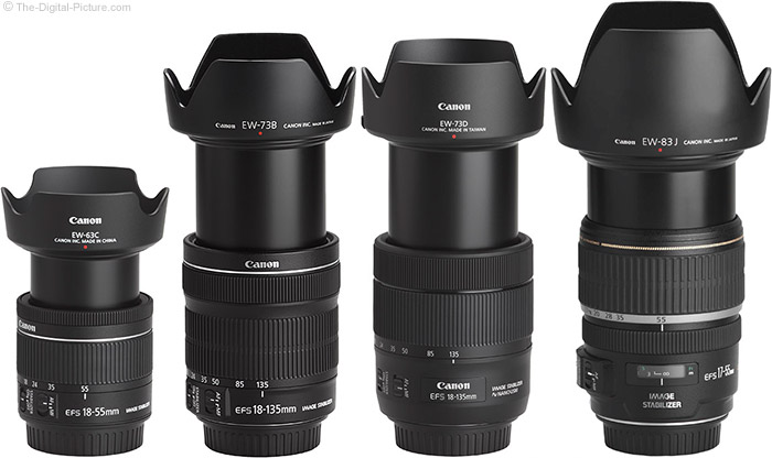 Canon EF-S 18-55mm f/4-5.6 IS STM Lens Compared to Similar Lenses with Hoods