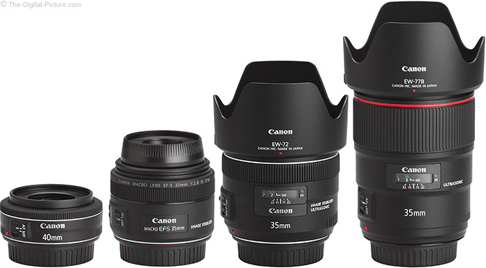 Canon EF-S 35mm f/2.8 Macro IS STM Lens Compared to Similar Lenses with Hoods