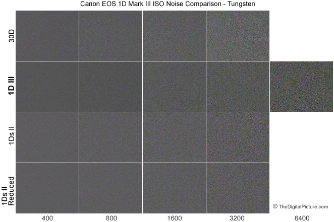 Canon 1D Mark III Digital SLR Camera noise comparison with 30D and 1Ds Mark II - 60w bare Tungsten light bulb