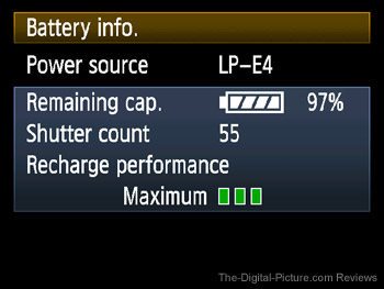1D IV Battery Info Menu Option