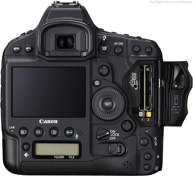Canon EOS-1D X Mark II with Memory Card Door Open