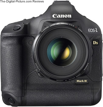 Canon EOS-1Ds Mark III with a EF 50mm f/1.2 L Lens mounted- front view