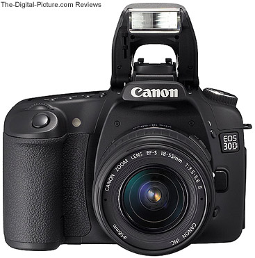 EOS 30D DSLR Front View with Flash Up