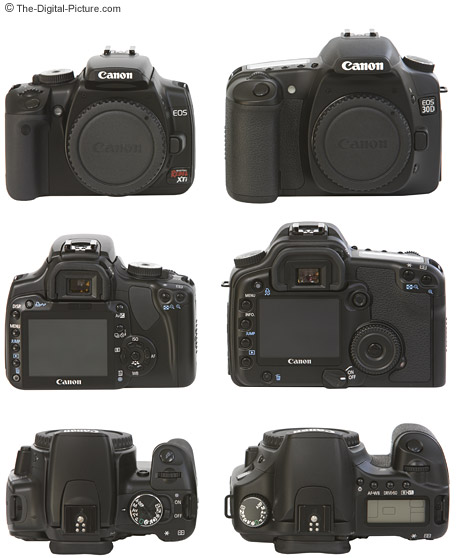 EOS XTi Compared to EOS 30D - Front