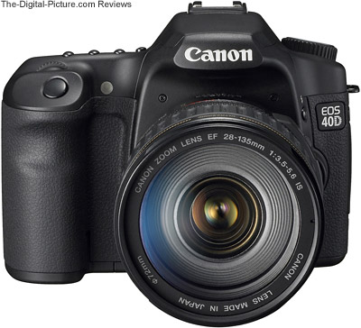 40D front view with Canon EF 28-135mm Lens mounted