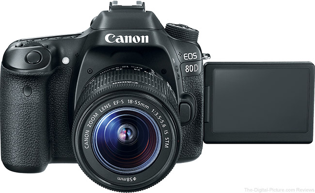 Canon EOS 80D Front with LCD Open