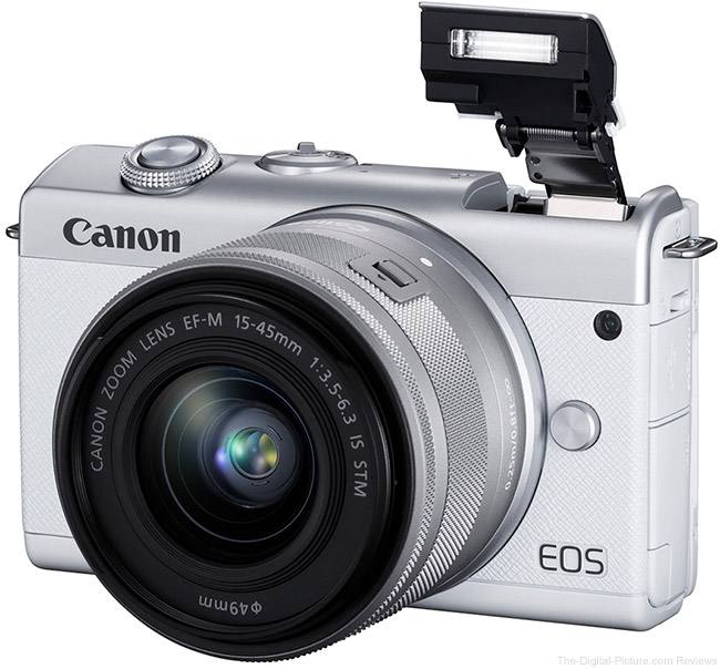 Canon EOS M200 Flash Up White