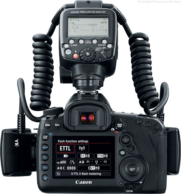 Canon Macro-Lite MT-26 EX-RT Flash Back View on Camera