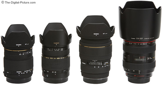 Canon, Sigma and Tamron Normal Zoom Lenses Size Comparison - with Lens Hoods