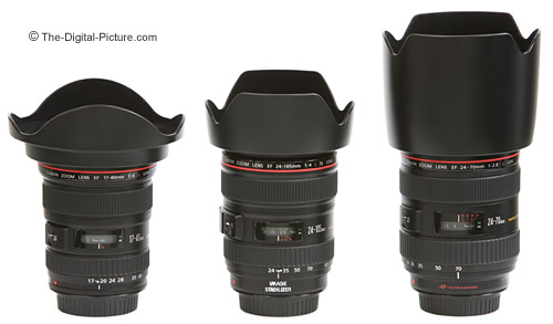 Canon Normal Zoom Lenses Size Comparison - Hoods On
