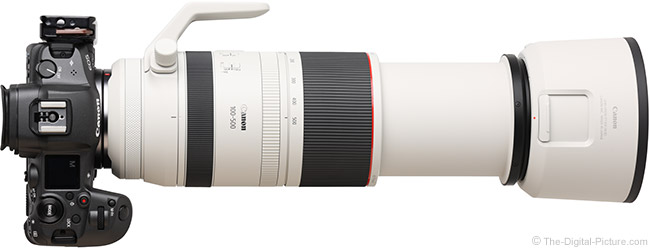 Canon RF 100-500mm F4.5-7.1 L IS USM Lens Angle View Extended with Hood