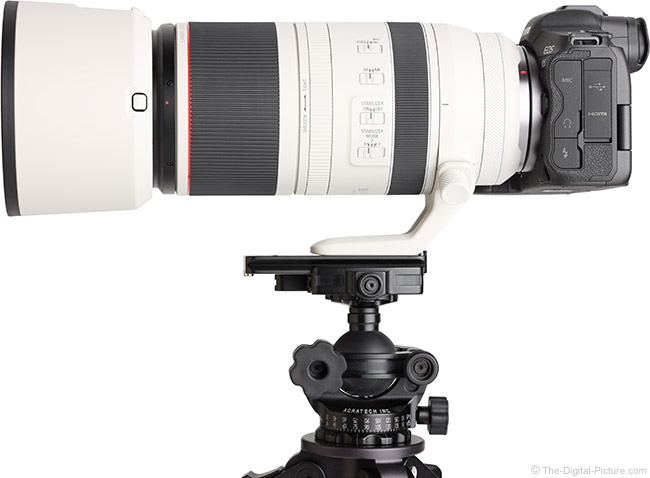 Canon RF 100-500mm F4.5-7.1 L IS USM Lens Side View with Hood