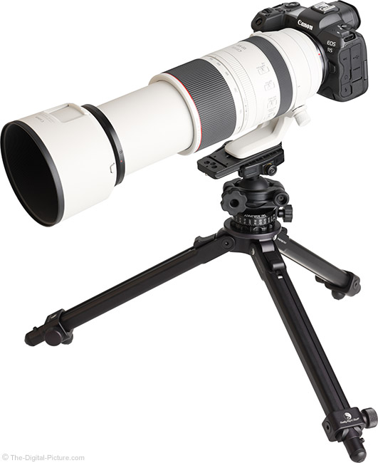 Canon RF 100-500mm F4.5-7.1 L IS USM Lens Extended on Tripod