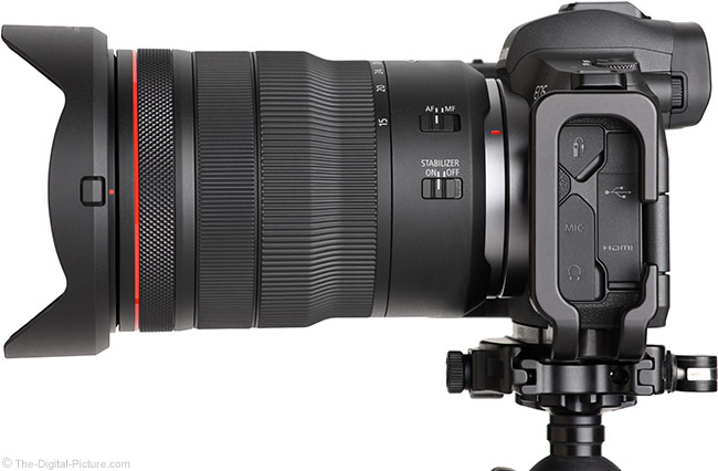 Canon RF 15-35mm F2.8 L IS USM Lens Side View with Hood