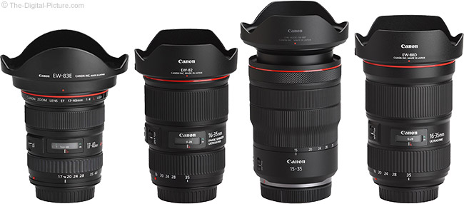 Canon RF 15-35mm F2.8 L IS USM Lens Compared to Similar Lenses with Hoods
