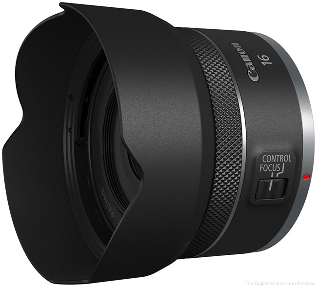 Canon RF 16mm F2.8 STM Lens Angle View with Hood