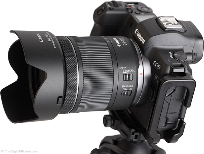 Canon RF 24-105mm F4-7.1 IS STM Lens Angle View with Hood