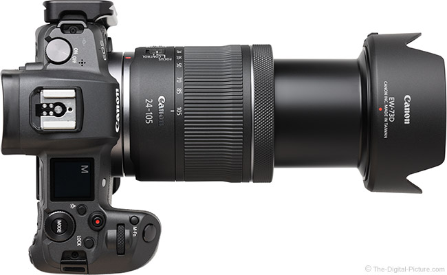 Canon RF 24-105mm F4-7.1 IS STM Lens Extended Top View with Hood