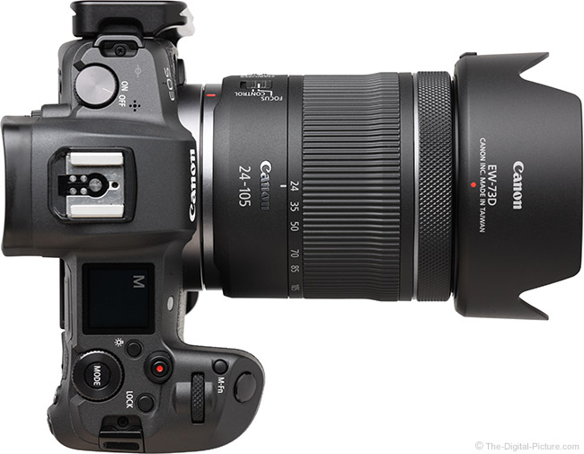 Canon RF 24-105mm F4-7.1 IS STM Lens Top View with Hood