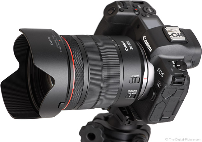 Canon RF 24-105mm F4 L IS USM Lens Angle View with Hood
