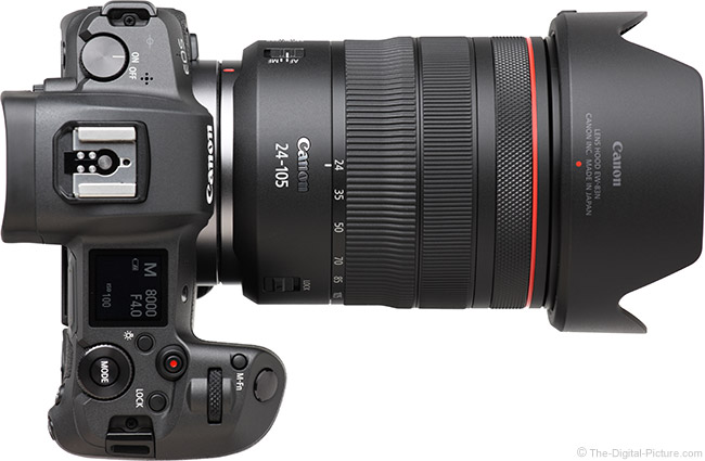 Canon RF 24-105mm F4 L IS USM Lens Top View with Hood