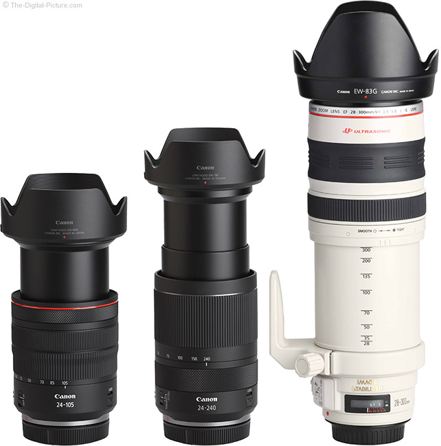 Canon RF 24-240mm F4-6.3 IS USM Lens Compared to Similar Lenses with Hoods