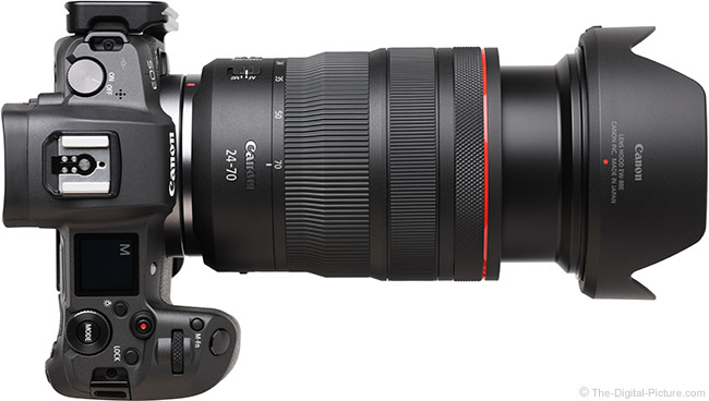 Canon RF 24-70mm F2.8 L IS USM Lens Extended Top View with Hood