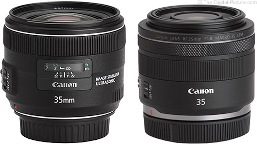 Canon RF 35mm f/1.8mm f/1.8 IS STM Macro Lens Compared to EF 35mm f/2 IS USM Lens