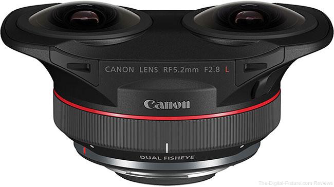 Canon RF 5.2mm F2.8 L Dual Fisheye Lens Top Angle View