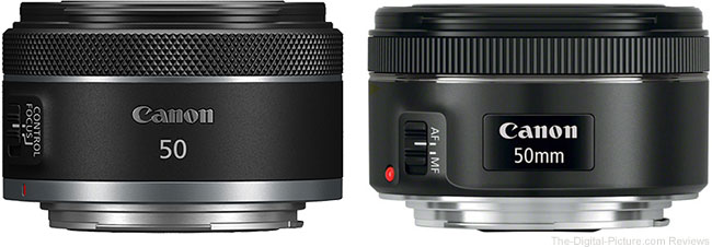 Canon RF 50mm F1.8 STM Lens compared to Canon EF 50mm f/1.8 STM Lens