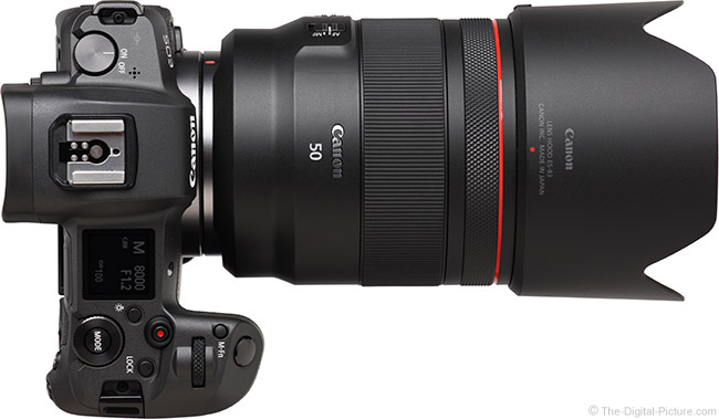 Canon RF 50mm F1.2 L USM Lens Top View with Hood