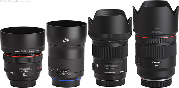 Canon RF 50mm F1.2 L USM Lens Compared to Similar Lenses with Hoods