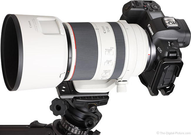 Canon RF 70-200mm F2.8 L IS USM Lens Angle View with Hood