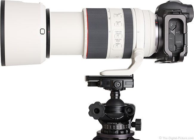 Canon RF 70-200mm F2.8 L IS USM Lens Side View with Hood