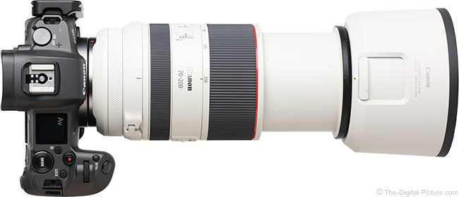 Canon RF 70-200mm F2.8 L IS USM Lens Extended Top View with Hood