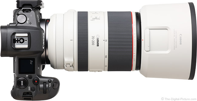 Canon RF 70-200mm F2.8 L IS USM Lens Top View with Hood