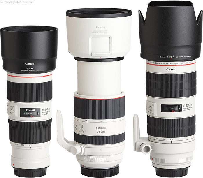 Canon RF 70-200mm F2.8 L IS USM Lens Compared to Similar Lenses with Hoods