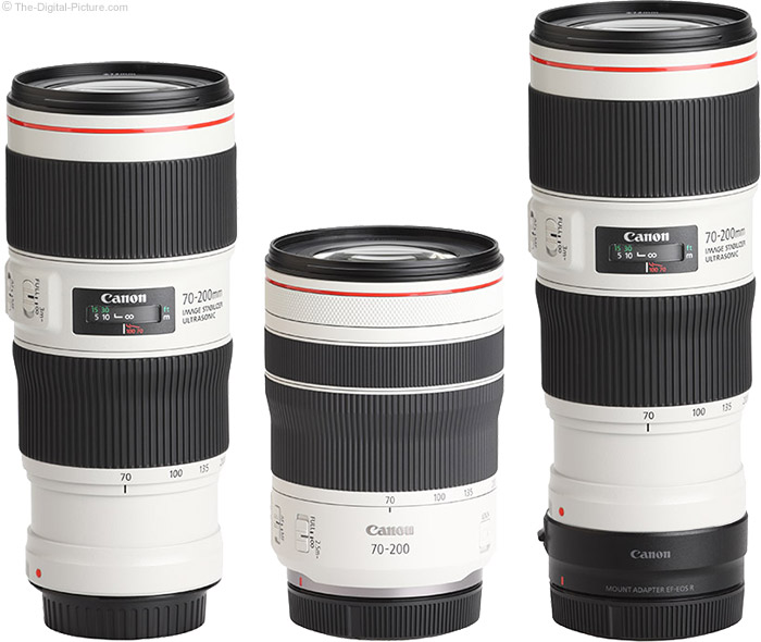 Canon RF 70-200mm F4 L IS USM Lens compared to Canon EF 70-200mm f/4L IS II USM Lens