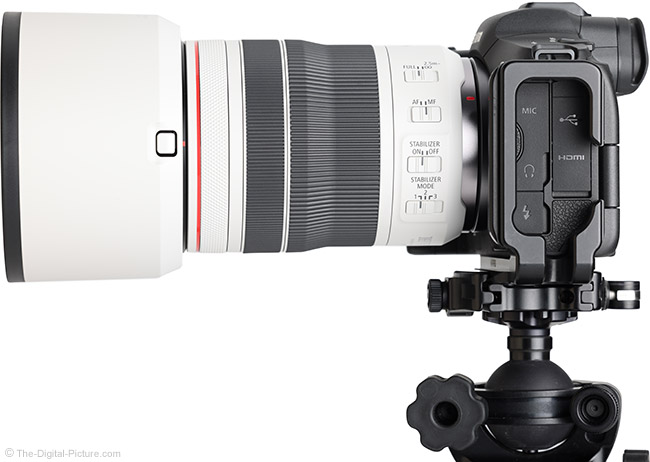 Canon RF 70-200mm F4 L IS USM Lens Side View with Hood