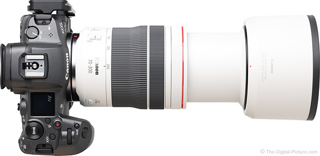 Canon RF 70-200mm F4 L IS USM Lens Extended Top View with Hood